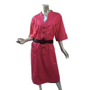 Plus Size Fashion Bug Shirt Dress Dark Pink Button Front Belted Pockets New 28